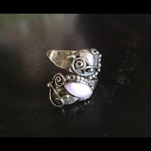 Sterling Silver MOP Spoon Style Ring